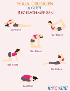 Yoga-Übungen gegen Regelschmerzen und Abnehmtipps speziell für Frauen findest Du auf www.mybodyartist.de!
