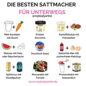 """In unserer Liste """"Die besten Sattmacher für unterwegs"""" zeigen wir Dir, welche Lebensmittel Du in jedem Supermarkt kaufen kannst und Dich schnell satt machen - www.mybodyartist.de"""