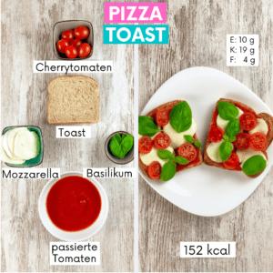 Pizza Toast gehört zu meinen Lieblings Snacks zum Abnehmen. Klick hier für das Rezept!!
